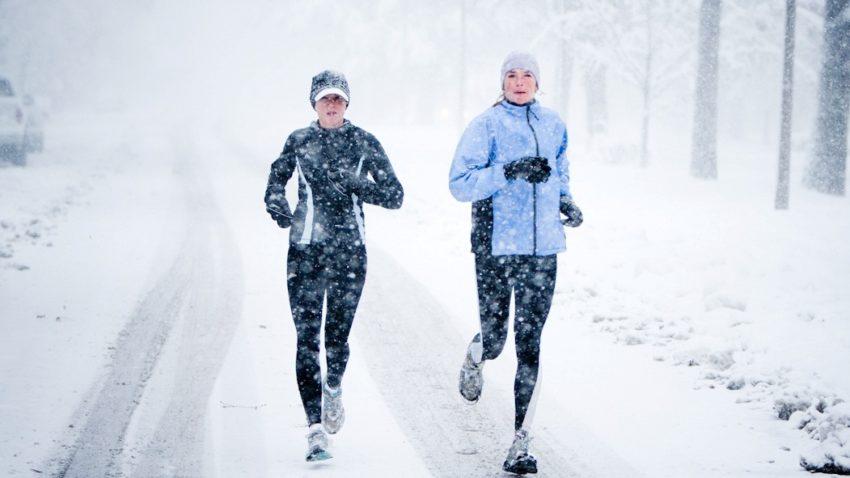 бег зимой